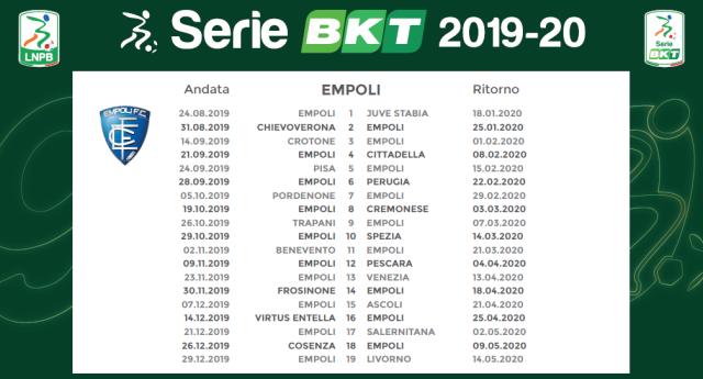 Calendario Juve Stabia.Empoli Calcio Ecco Il Calendario Degli Azzurri Esordio Con